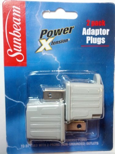 2 Prong Power Plug (Adaptor Plugs, 3 Prong to 2 Prong, 110/125V, 2 Pack by Power Xtension)