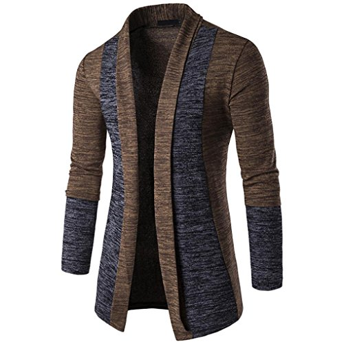 Hoodie Mantel Herren Sunday Herren Herbst Winter Pullover Strickjacke Strick Cool Mantel Mode Lange Sweatshirt (Braun, XL) (- Reißverschluss-leder-jacke-mantel)