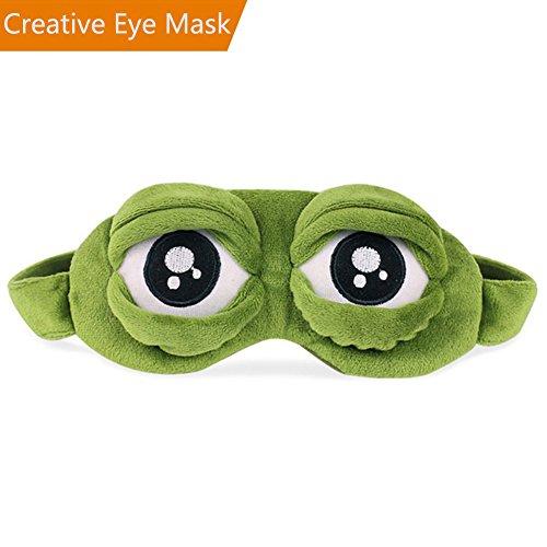 Foto de Máscara de dormir creativa para viajes, CLKJCAR, antifaz para dormir con correa ajustable y bolsillo interior para novia, hombres, mujeres y niños (ojos descubiertos)