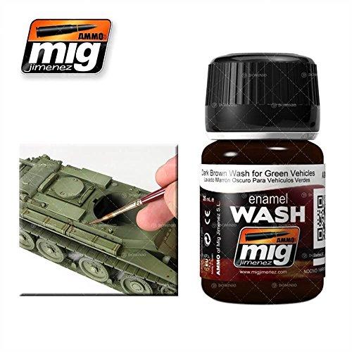 AMMO MIG-1005 Emaille (35 ml) Dunkelbraun Waschmittel für grüne Fahrzeuge, Mehrfarbig