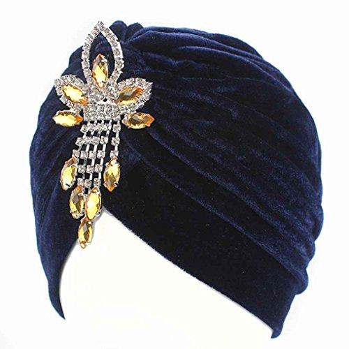 Bobury Frauen Lady Chemo Samt Turban Mütze Hut Strass Anhänger Kopf Abdeckung Kappe