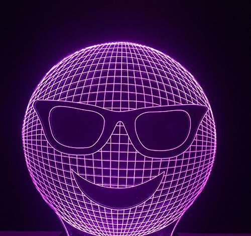 Lustige 3d bunte steigung kühlen lachen sonnenbrille ausdruck nachtlichter led stimmung tisch schreibtischlampe kinder geschenke schlafzimmer lampara dekor