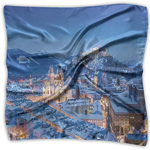 a Head and Neck Tie Neckerchief Headdress Silk-Like,View Of The Historic City Of Salzburg With Festung Hohensalzburg In Winter Austria,Square Scarves Bandana Scarf ()