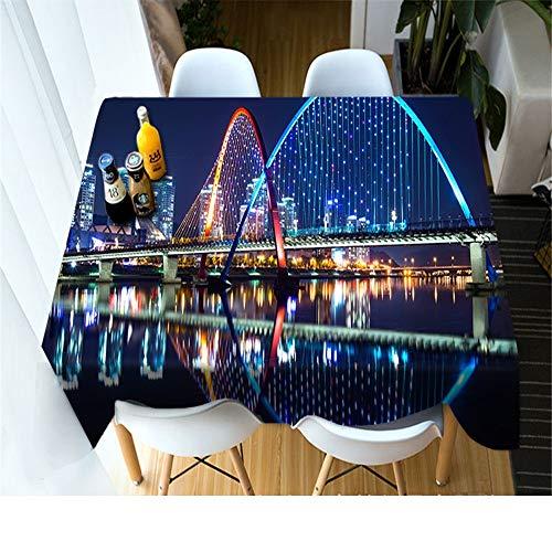 QWEASDZX Mantel Moda Creativa Impresión Digital 3D Mantel Decorativo Reutilizable Mantel Rectangular Adecuado para Interiores y Exteriores 90x90cm