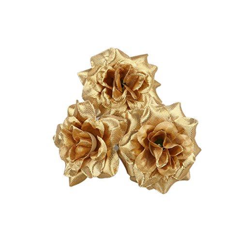 Winomo 50pz rosa in seta artificiale fiore testa fai da te decorazione nozze (dorato)
