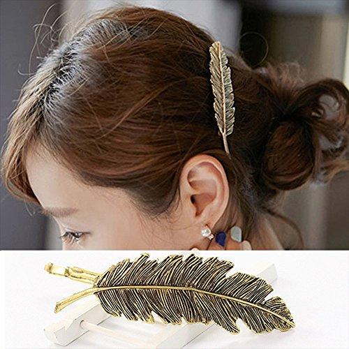 CINEEN 3 Farben Metall Feder Blatt Haarklammern Vintage Blatt förmigen Haarspangen Haarschmuck Kopfschmuck Haar Zubehör - 4