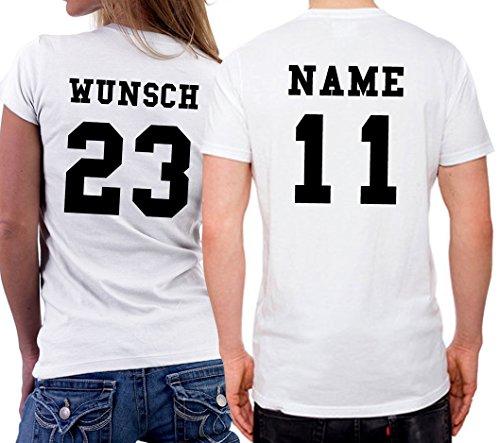 2 Partner Look Shirts mit Wunschname und Wunschzahlen auf Rücken für Pärchen