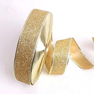 luoem con purpurina cinta Craft lazos de decoración para árbol de Navidad Hogar Decoración de la boda (oro)