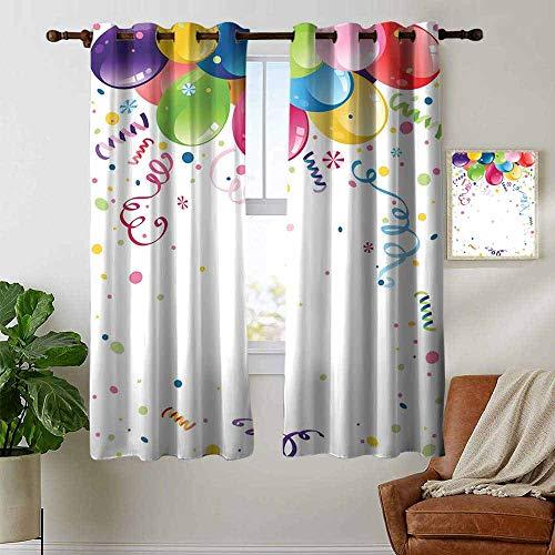 Petpany - tende per salotto e feste per bambini, tema vivace e colorato, con elementi astratti, multicolore, regolabili con asta, 106,7 x 160 cm