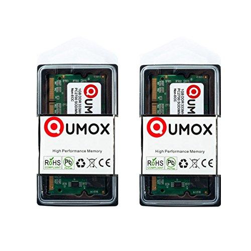 QUMOX 2GB (2x1GB) DDR SODIMM (200 pin) 333Mhz PC2700 Laptop-Speicher -