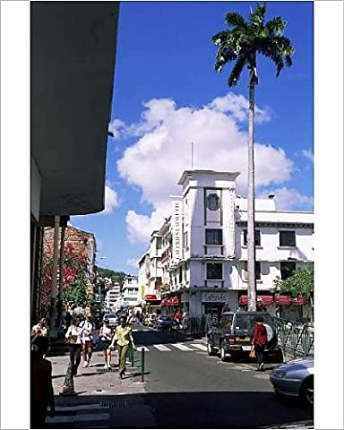 Photographic Print of Street scene with Galeries LaFayette in centre of Fort de France, Martinique