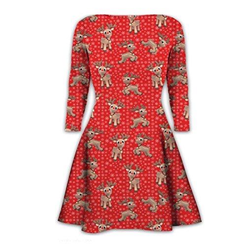 Janisramone Damen Swing-Kleid Kleid * Einheitsgröße RED - Reindeer Flake Print