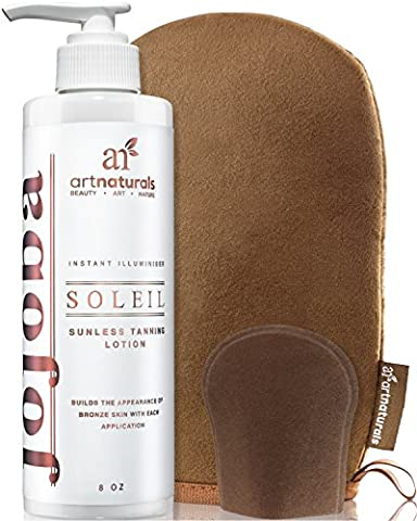 ArtNaturals Sunless Self Tanner Lotion Set - with Mitt Creates a Buildable Bronze and Golden Tan with Each Application - Instant Tint for All Skin Types, Light, Fair, Medium and Sensitive - 236