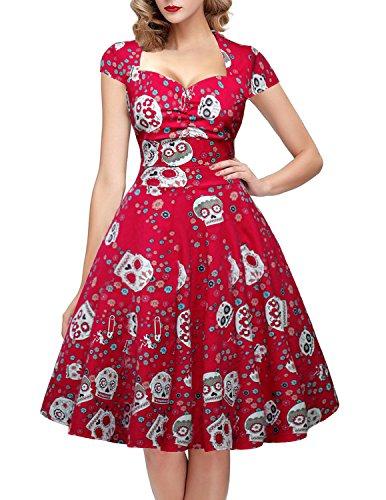 OTEN Damen Vintage Floral Zucker Sch?del Print Sommer Party kleid
