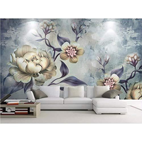 Kuamai Stereoscopic Tapete 3D Handgemalte Retro Blumen Fototapete Wohnzimmer Hintergrund Wand Dekorative Gemälde-120X100cm
