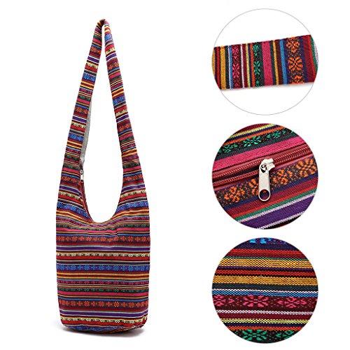 SimpleLife Mujeres Sling Cross Body Bag Lona de algodón Hippie Bolsas