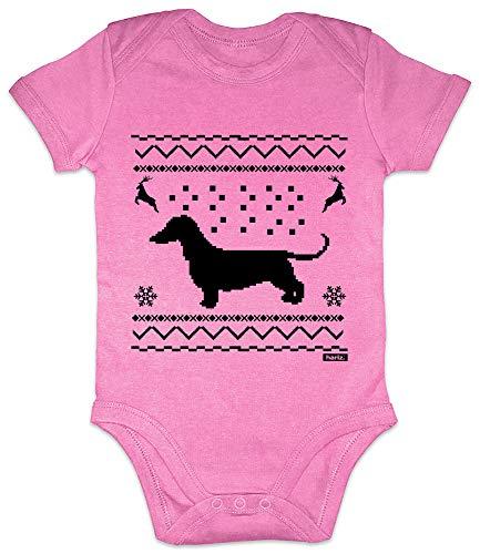 HARIZ Baby Body Kurzarm Dackel Weihnachten Weihnachten Weihnachts Schnee Tannenbaum Inkl. Geschenk Karte Bubblegum Pink 6-12 Monate