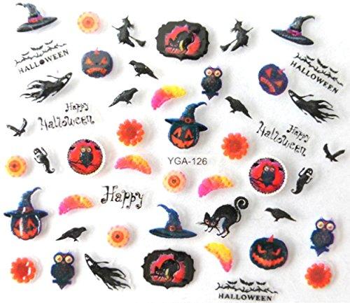 Générique Nail Art Autocollants Stickers Ongles: Décorations Halloween citrouilles
