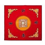 LEERAIN Mahjong-Tischteppich Spieltisch-Abdeckmatte Mahjong-Tischdecke Rot Rutschfest Stille Quadrat FüR Familienparty-Spiel Domino Tile Mahjong Kartenspiele (78 cm X 78 cm)