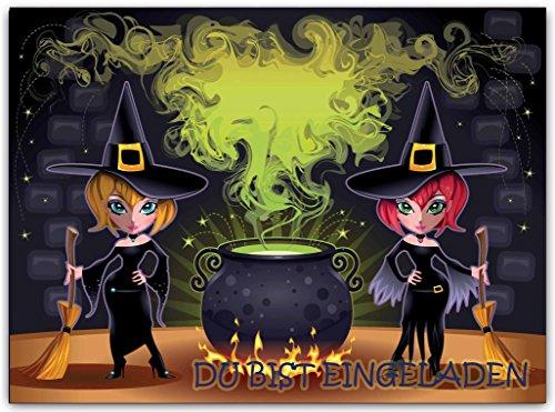 Hexen Einladungskarte Kinder Erwachsene Party Halloween Halloweenparty Hexe (10 Stück) gruselig Geburtstag Einladung