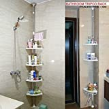 DNYÂ 120cm-300cm 4 Tier Adjustable Stainless Telescopic Shower Corner Bathroom Shelf Rack Caddy - Heavy Duty