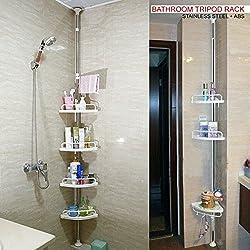DNYÂ 120cm-300cm 4 Tier Adjustable Stainless Telescopic Shower Corner Bathroom Shelf Rack Caddy - Heavy Duty