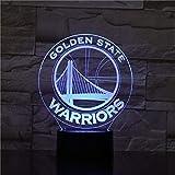 1 PACK, Pour NBA Golden State Warriors, LED 3D Veilleuse 7 Couleurs Changeantes Table à Coucher Bureau Lampe...