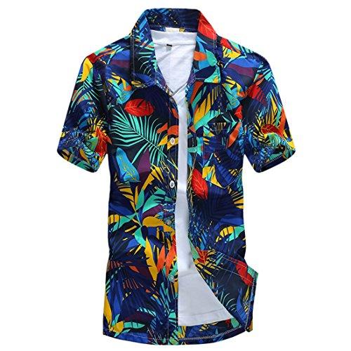 QIYUN.Z Los Hombres Ponen En Cortocircuito La Camiseta Resaca Playa De La Impresión Del Árbol De Coco Camisa De La Manga