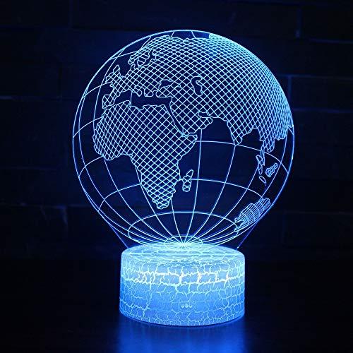Lámpara De Mesa De Ilusión Óptica Con Luz Nocturna Led 3D,Efecto Visual 3D Mapa Del Mundo Forma Globo Led Luz Nocturna Usb 7 Colores Cambiables Para Decoración Bola Atmósfera Diy Lámpara Nocturna