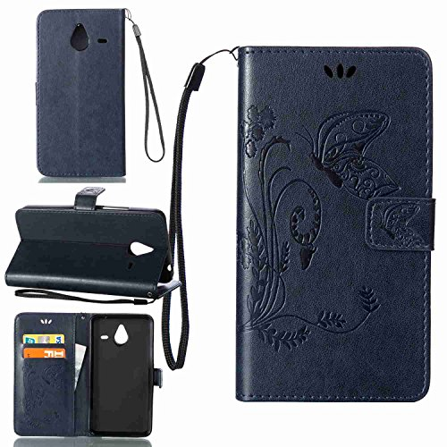 pinlu Schutzhülle Für Microsoft Lumia 640 XL Dual-SIM Handyhülle Hohe Qualität PU Ledertasche Brieftasche Mit Stand Function Innenschlitzen Design Schmetterling Gras Muster Königsblau