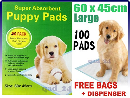 100-x-PUPPY-DOG-TRAINING-PEE-PADS-60-x-45CM-MAT-HOUSE-TRAINER-PET-EXTRA-LARGE-LARGE