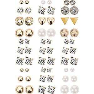 30 Paar Ohrstecker Mehrere Ohrring Gefälschte Kristall Perle Ohrring Set