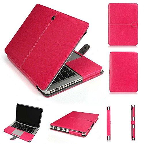 "Pindia Apple Macbook Pro Retina 13 13.3 "" Inch Premium Quality PU Leather Book Cover Clip On Case - Rose Pink"