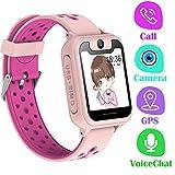 Telefono Reloj Inteligente GPS Niños - Smartwatch con Localizador GPS LBS Podómetro Juegos Despertador Camara Linterna per Niño y Niña de 3-12 Años (GPS, Rosa)