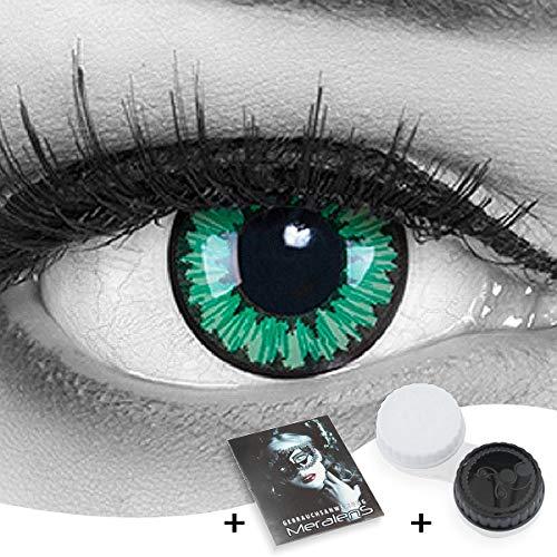 Funnylens 1 Paar farbige Crazy Fun green elf Jahres Kontaktlinsen. perfekt zu Halloween, Karneval, Fasching oder Fasnacht mit gratis Kontaktlinsenbehälter ohne Stärke!