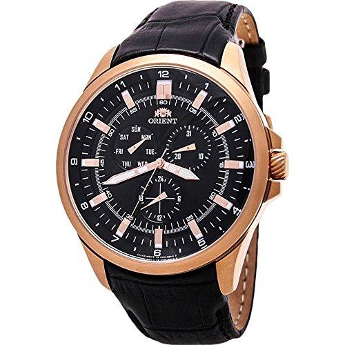 Orient Men's 46mm Brown Leather Band Steel Case Quartz Analog Watch FSX01003B0