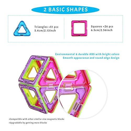 Peradix-Super-Magnetische-Bausteine-Baukltze-Konstruktionsbausteine-Lernspielzeug-Bunt-77PCs-fr-Kinder-ab-3-Jahre