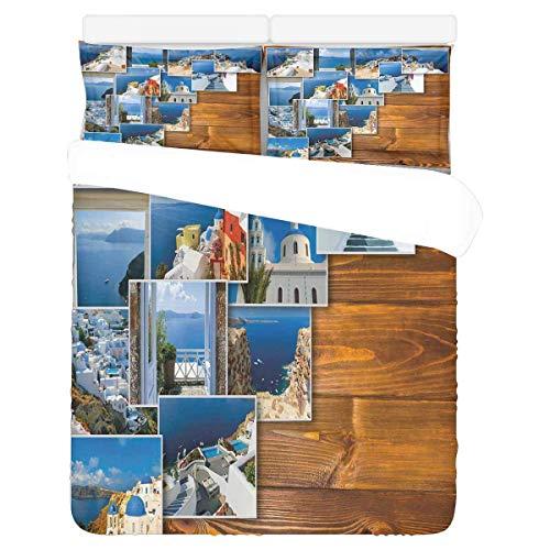 Oia Village Santorini Island Bettwäsche Bettbezug 3-teilig Soft Home Hotel Bettwäsche Kollektion -