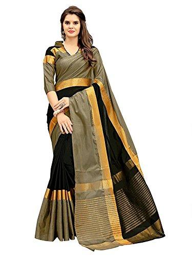 Saree Center Women's Cotton Silk Saree With Blouse Piece Material (color: Black)