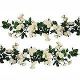 U 'artlines 2 Pack (178cm Pro Strähne) künstlichen Blume Zum Aufhängen Rose Flower Ivy Garland Rose Girlande Home Hochzeit Party Garten (69 Klein Rose Blumen, Weiß)