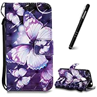 Moto G4 Play Case, Motorola Moto G4 Play Leather Case, Slynmax 3D Printing Violet Butterfly Design Flip Folio PU Leather Wallet Case Inner Soft TPU Cover with Stand Function Hand Strap Card Holders Magnetic Closure Ultra Thin Book Style Shock Resistant Pr