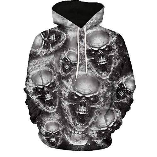 Kanpola Oversize Herren Shirt Slim Fit Schwarz Adler Totenkopf 3D Bedruckte Kurzarmshirt T-Shirt Tee (Z-Grau, 3XL/56)