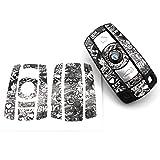 Schlüssel Folie BB für 3 Tasten Auto Schlüssel (nur Keyless Go) Folien Cover von Finest-Folia (Stickerbomb Schwarz Weiß)