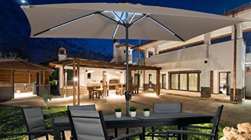 PEGANE Parasol de Balcon LED rectangulaire en Aluminium - Dim : 2 x 3 x H2,40 m