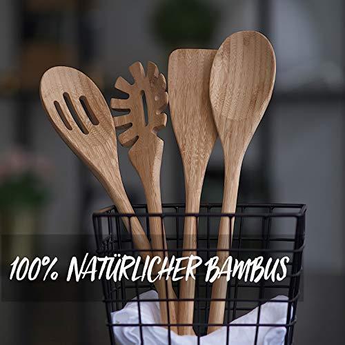 BASIL | Holz Küchenhelfer Set im praktischen 4er Set | Natürliche Bambus Küchenutensilien | Holz Kochgeschirr inklusive Kochlöffel, Pfannenwender, Suppenkelle, Salatbesteck | Küchenbesteck - 2