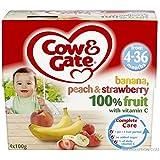 Cow & GateBanana, Pesca E Fragola 100% Di Frutta Con Vitamina C Da 4-36 Mesi 4 X 100G