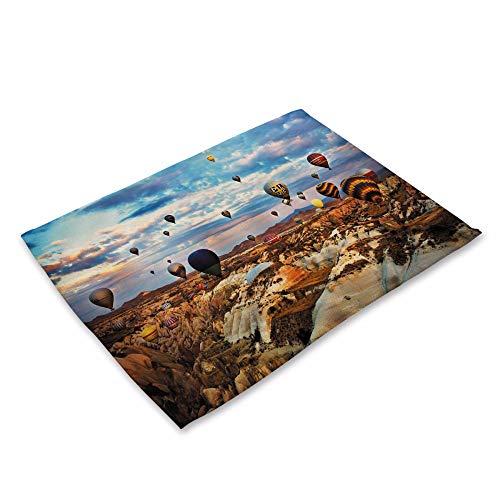 ZCHPDD Mountain River Landschaft Druck Baumwolle Leinen Kunst Isolierung Western Food Matte Lebensmittel Foto Hintergrund Tuch A 42 * 32 cm * 8 Stücke -