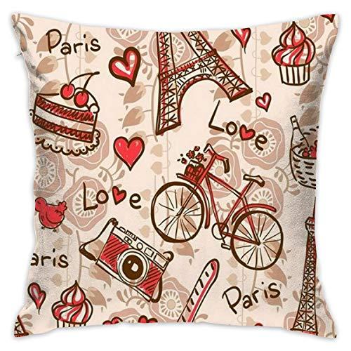 TERPASTRY Taie d'oreiller carrée décorative en Coton Doux pour l'extérieur Paris Tour Eiffel Motif Floral