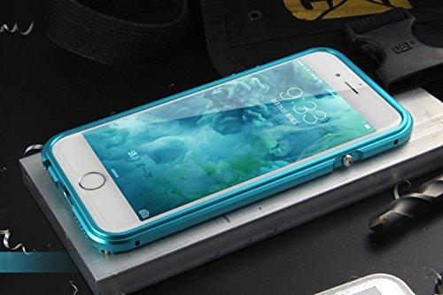 """iPhone 6 / 6S 4.7"""" Coque ,SHANGRUN Aluminium Metal Frame Bumper Coque + Transparent PC Matériel Protictive Couvercle housse Etui Protection Case pour iPhone 6 / 6S 4.7"""" Bleu Bleu"""