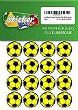 66 Aufkleber, Fußball, Sticker, 30 mm, gelb/schwarz, aus PVC, Folie, bedruckt, selbstklebend, EM, WM, Bundesliga